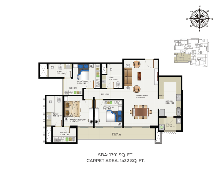 Floor plan for Blessed Appartments at Sunpure Homes