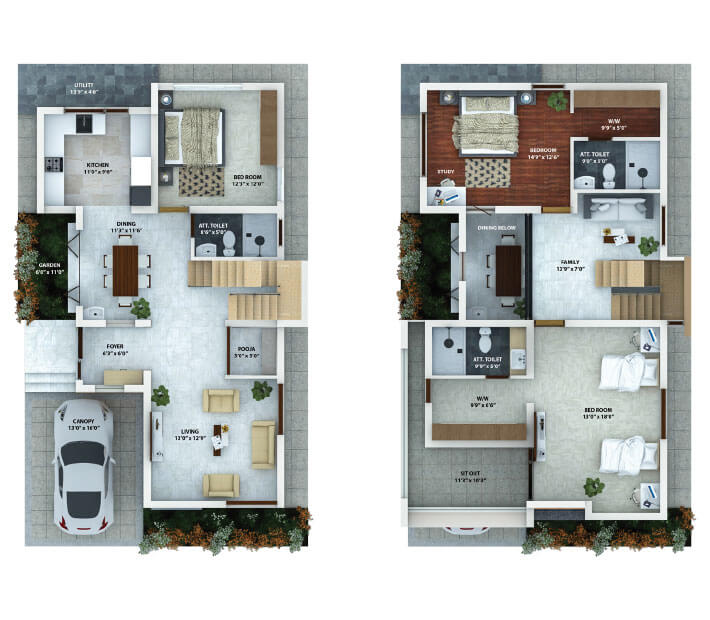 Floor plan for Happiness Villas by Sunpure Homes